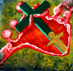 Simon von Cyrene hilft Jesus das Kreuz tragen