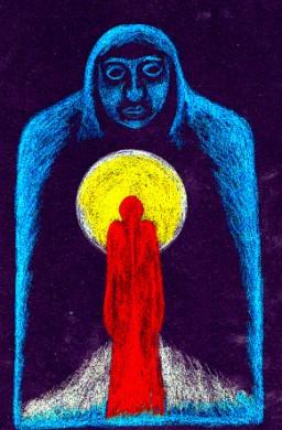 Rot steht für Aktivität, Blau für die geistige Welt (Himmel) und gelb für das (lichte) Bewusstsein. Oder: Gott ist eine Göttin