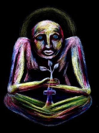 In der Annahme des eigenen Kreuzes (Schicksal) und der Aufmerksamkeit für die inneren Verhaltensmuster wächst die innere Pflanze der Einsicht.