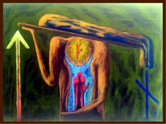 Schieb von den Schultern, was dir Angst macht und suche die Kraft in deinem Innern. Das symbolisieren auch die drei Runen